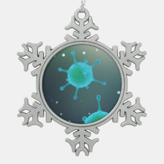 Virus Magnified Snowflake Pewter Christmas Ornament