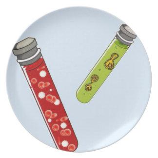Virus rojo de dos glóbulos de los tubos de ensayo plato