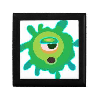 Virus verde joyero cuadrado pequeño