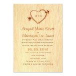 Viruta con la invitación del boda del corazón invitación 12,7 x 17,8 cm