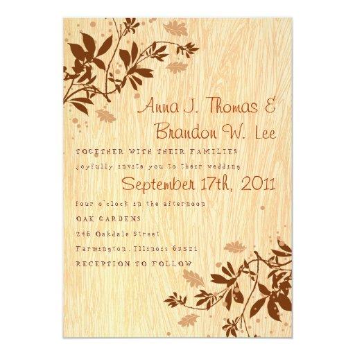 Viruta con las hojas que casan la invitación invitación 12,7 x 17,8 cm