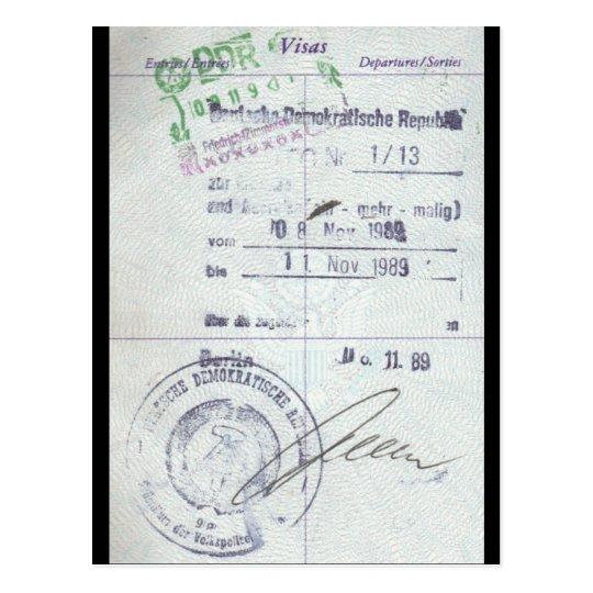 Visa & Entry Stamps from Communist East Germany Postcard
