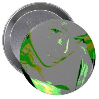 Visage Greenie Pinback Button