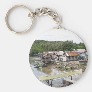 Visayan fishing village basic round button keychain