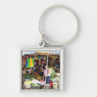 Visayan grocery store Silver-Colored square keychain