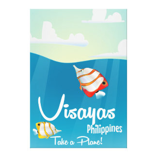Visayas, philippines cartoon travel poster canvas print