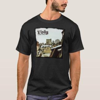 Visby, Gotland, Sweden Rooftops with Dark Border T-Shirt