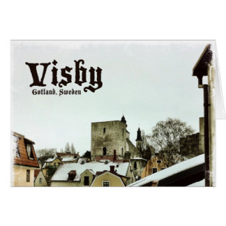 Visby, Gotland, Sweden Rooftops with Light Border Card