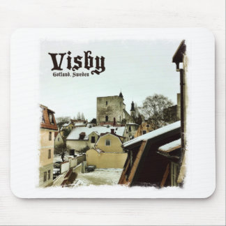 Visby, Gotland, Sweden Rooftops with Light Border Mouse Pad