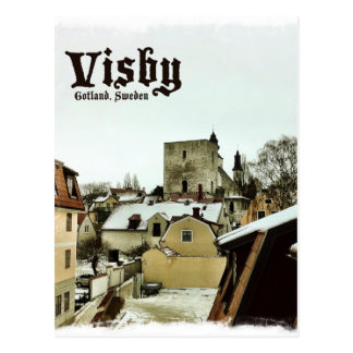 Visby, Gotland, Sweden Rooftops with Light Border Postcard