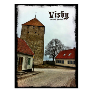 Visby, Gotland, Sweden Tower with Dark Border Postcard