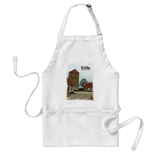Visby, Gotland, Sweden Tower with Light Border Adult Apron