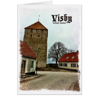 Visby, Gotland, Sweden Tower with Light Border Card