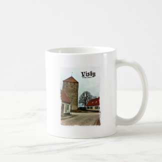 Visby, Gotland, Sweden Tower with Light Border Classic White Coffee Mug