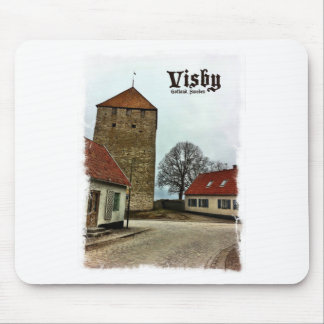 Visby, Gotland, Sweden Tower with Light Border Mouse Pad