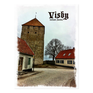 Visby, Gotland, Sweden Tower with Light Border Postcard