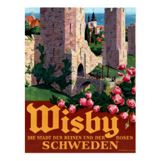 Visby Vintage Travel Poster Restored Postcard
