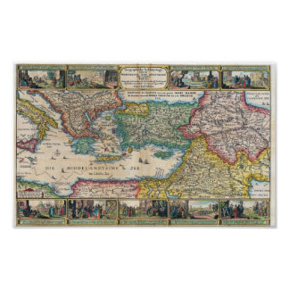 Vischer, Nicolaus Holy Land 1642 Reproduction Poster