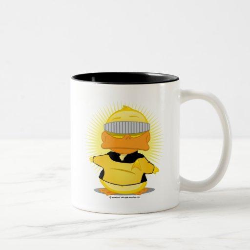 Visera del pato de la camisa del oro del manejo tazas de café