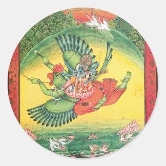 Vishnu and Lakshmi riding Garuda, the great Classic Round Sticker