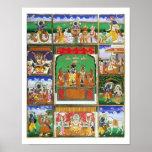 Vishnu en el centro de sus diez avatares, Jaipur,  Poster