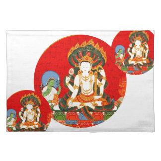 Vishnu Hindu Colorful Fabric Print Placemat