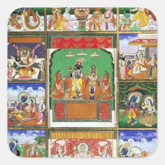 Vishnu in the centre of his ten avatars Jaipur R Square Stickers