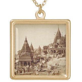 Vishnu Pud and Other Temples, Benares (sepia photo Gold Plated Necklace