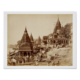 Vishnu Pud and Other Temples, Benares (sepia photo Poster