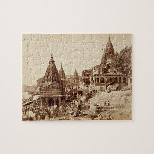 Vishnu Pud y otros templos, Benares (foto de la se Puzzle