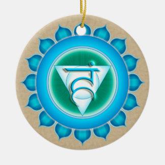 Vishuddha or Throat the 5th Chakra Double-Sided Ceramic Round Christmas Ornament