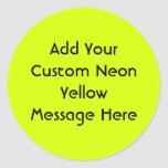Visibilidad amarilla, alta de neón etiqueta redonda