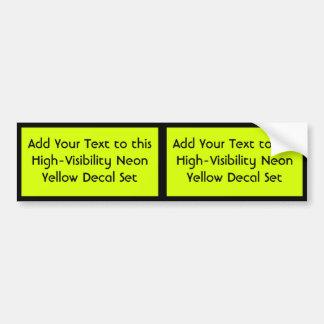 Visibilidad amarilla, alta de neón pegatina para auto