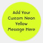 Visibilidad amarilla, alta de neón pegatina redonda