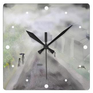 Visibility - Morning Fog. Square Wall Clock