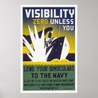 Visibility zero unless you lend binoculars - WPA Poster
