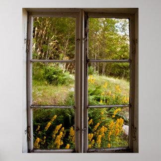 Visión a través de la ventana vieja póster