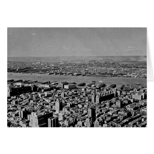 Visión aérea desde el vintage del Empire State Tarjeta De Felicitación