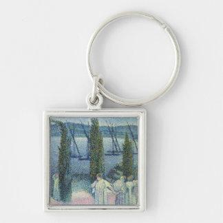Visión costera con los árboles de Cypress, 1896 Llavero Cuadrado Plateado
