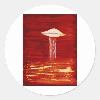 VISION-D8 painting aqua hue inverted Classic Round Sticker