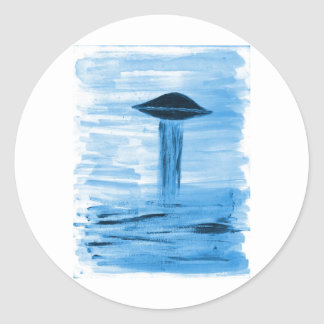 VISION-D8 painting blue hue Classic Round Sticker
