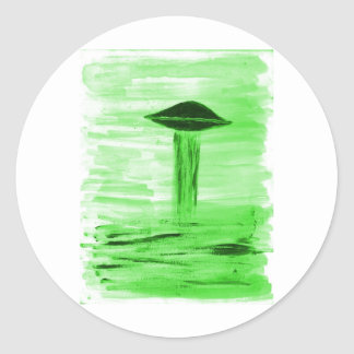 VISION-D8 painting br green hue Classic Round Sticker
