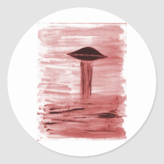 VISION-D8 painting burgandy hue Classic Round Sticker