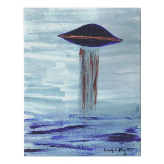 VISION-D8 UFO Alien Abduction Watercolor original Faux Canvas Print
