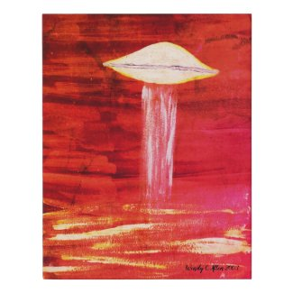 VISION-D8 UFO (Alien Abduction Watercolour) Faux Canvas Print