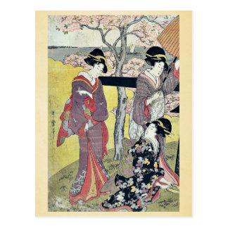 Visión de la cereza en Gotenyama por Kitagawa, Postales