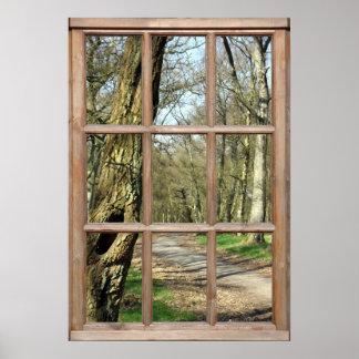 Visión de madera desde una ventana posters