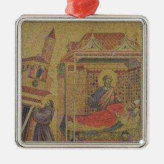 Vision de papa Inocencio III, c.1295-1300 Adorno Navideño Cuadrado De Metal