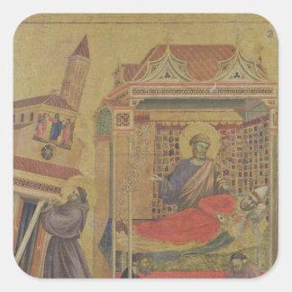 Vision de papa Inocencio III, c.1295-1300 Pegatina Cuadrada