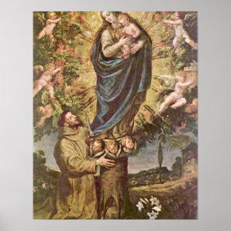 Vision de St Francis de Vicente Carducci Poster